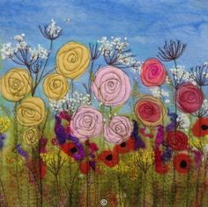 Summer Garden SOLD  -  Threlfall's Art Studio | Silk Paintings | Felt Paintings | Acrylics | Caren and Pete | Country, Town and Seascapes | Workshops |