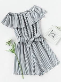 Shop Frill Layered Self Tie Vertical Striped Romper online. SheIn offers Frill Layered Self Tie Vertical Striped Romper & more to fit your fashionable needs. Ruffle Jumpsuit, Ruffle Romper, Playsuit Romper, Summer Jumpsuit, Trendy Outfits, Summer Outfits, Summer Dresses, Teen Fashion, Fashion Outfits