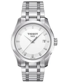 Tissot Watch, Womens Swiss Couturier Diamond Accent Stainless Steel Bracelet 32mm T0352101101600 - Tissot - Jewelry & Watches