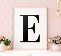 "Letter ""E"" Printable Art Poster, Alphabet E Letter Wall Art, E Initial Poster, Minimalist Art, Printable Wall Art *INSTANT DOWNLOAD* Letter Wall Art, Letter E, Initial Letters, Printing Websites, Online Printing, Alphabet E, Minimalist Art, Wall Art Designs, All Design"
