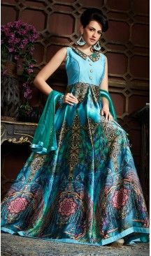 Sky Blue Color Satin Party Wear Gowns Fh489675185 Gowns