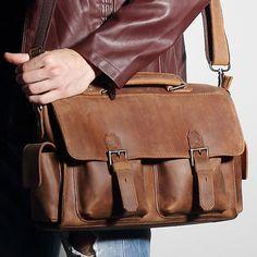 Men Crazy Horse Leather Multi Pocket Weekender Briefcase Duffle Luggage Suitcase #Unbranded #DocumentBag