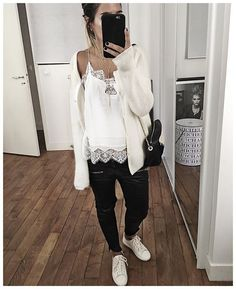 WEBSTA @ audreylombard - Tenue en entier :• Knit #sezane (old but still on @sezane)• Top #magalipascal (from @magalipascal)• Leather Pant #aninebing (old)• Sneakers #sezane (from @Sezane)...