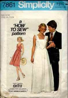 1970's How to Sew Pattern Sundress in Two Lengths , Simplicity No. 7861 , Maxi Sundress , Everyday Sun Dress Bust 30.5