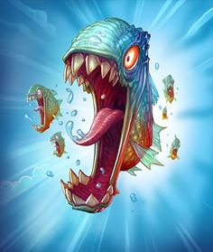 Card Name: Piranha Artist: Blizzard Entertainment Cute Monsters Drawings, Cool Car Drawings, Cartoon Drawings, Cartoon Art, Art Drawings, Monster Drawing, Monster Art, Game Character Design, Character Design Animation