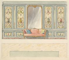 Design for a Wall Elevation with a Large Double-arched Mirror and Sofa (Fifth Floor)