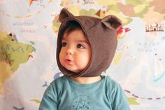 Wild thing baby hat. Organic cotton knit fabric by bymamma190