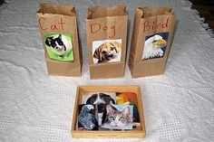 Sorting Activity.  Love the idea of using lunch bags for sorting bins.  Easy and quick!