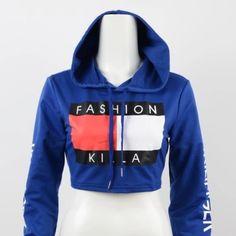 ❗️SALE❗️ 'Fashion Killa' Crop Hoodie Brand new w/o tags. True to size Tops Sweatshirts & Hoodies
