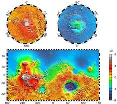 Mars Orbiter Laser Altimeter (MOLA) map of Mars. Mars' northern hemisphere is low (in elevation) and flat, while the southern hemisphere is high and rugged. That difference is easy to spot in the marvelous Mars Orbiter Laser Altimeter map of Mars, one of the signal accomplishments of the Mars Global Surveyor mission. The highest elevations are found in the Tharsis volcanic province at about 250°E, while the lowest elevations are in the Hellas basin at about 60°E.