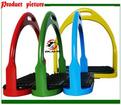 """Free shipping colorful aluminum hunting stirrup with rubber pad,horse product,assorted colors,size:4 3/4""""(ST3111CO) Black Box, Horse Tack, Horse Riding, Hunting, Horses, Colorful, Entertaining, Free Shipping, Stuff To Buy"""