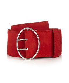 Red suede buckle belt by Prada on secretsales.com