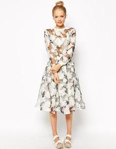 White Mesh Sheer Fashion Union Printed Organza Top & Skirt $65, $65 Total: $130 @ ASOS