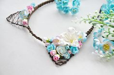 Kitty party headband Blue pink flower cat ears Kitten headband Beads hoop with ears Flower hair accessories  Cat woman hairband Floral crown