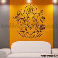 Vinyl Wall Decal Sticker Ganesha Flower Indian God Yoga Bedroom Namaste r1704