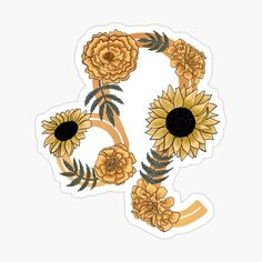 'Leo Zodiac Symbol with Sunflowers and Marigolds' Sticker by allyyxoxo Zodiac Signs Symbols, Zodiac Signs Leo, Zodiac Art, Up Tattoos, Flower Tattoos, Marigold Tattoo, Cute Patterns Wallpaper, Vision Boarding, Decorate Notebook