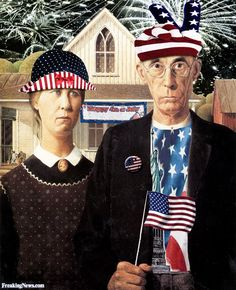 American Gothic Painting on the 4th of July
