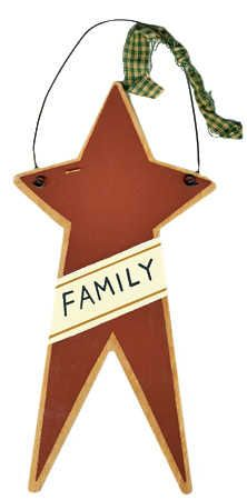 """""""Family"""" Primitive Star Wooden Ornament Sign"""