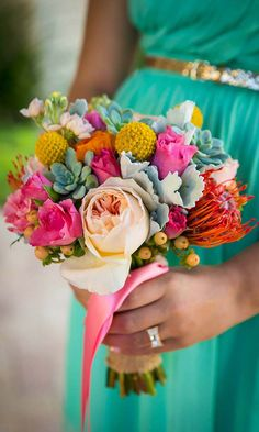 24 Summer Wedding Bouquet Ideas >> Summer #brides are lucky to have the most beautiful flowers in season for their #wedding bouquet. Whichever summer wedding bouquet you choose, be sure your it reflects your personality. See more wedding bouquet ideas ...