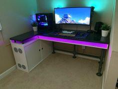Pc Gaming Table, Custom Pc Desk, Custom Computer Desk, Gaming Computer Desk, Pc Table, Gaming Room Setup, Computer Deals, Small Computer, Vr Room