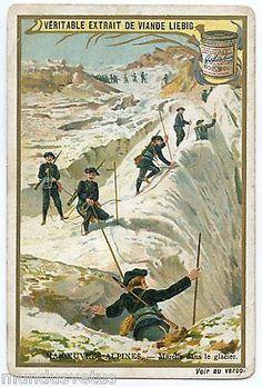 Chromo. Liebig. Manoeuvres Alpines. Marche Dans Le Glacier. Chasseurs Alpins