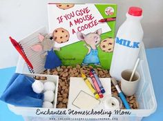 If You Give a Mouse a Cookie Felt Mouse Tutorial If You Give a Mouse a Cookie Sensory Bin Preschool Literacy, Preschool Books, Early Literacy, Kindergarten Sensory, Literacy Activities, Preschool Activities, Mouse A Cookie, Book Baskets, Sensory Boxes
