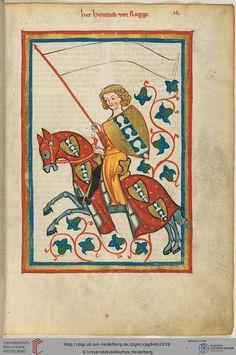 """Der als gewappneter Ritter zu Pferd dargestellte Minnesänger ist möglicherweise der in einer zwischen 1175 und 1178 ausgestellten Urkunde erwähnte """"Heinricus miles de Rugge"""". Die Burg der Herren von Rugge stand auf dem Ruckberg bei Blaubeuren in Nordwürttemberg. Sie waren Dienstmannen der Pfalzgrafen von Tübingen und hatten das Amt eines Vogtes und Truchsessen inne."""
