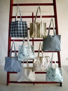 roomy shoulder bags sewn from vintage linen at Appley Hoare