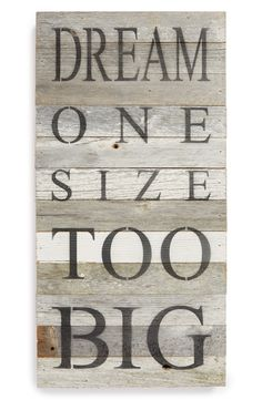 Dream one size too big.