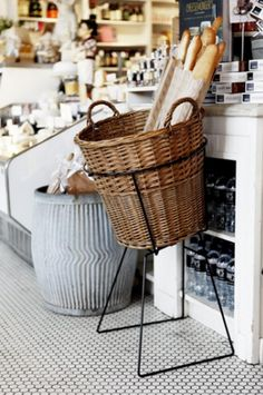 The basket would be so cute to have in your kitchen with French bread and sandwich bread..
