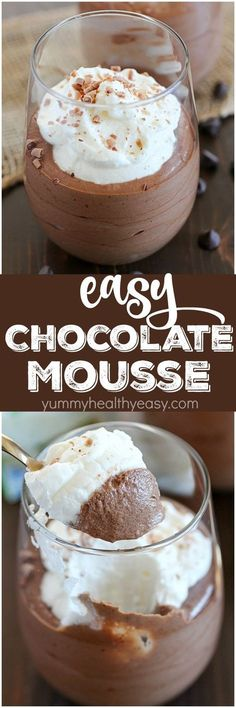 Chocolate Mousse ~ incredibly easy to make with only 5 simple ingredients and a ., Desserts, Chocolate Mousse ~ incredibly easy to make with only 5 simple ingredients and a few steps from start to finish.fancy enough for a party but easy eno. Easy Desserts, Delicious Desserts, Dessert Recipes, Yummy Food, Dessert Food, Cake Recipes, French Desserts, Mousse Dessert, Parfait Recipes