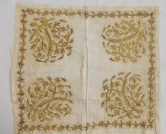 Embroidered 'cevre' (square kerchief; a decorative accessory). From Gelibolu (on the northern shores of the Dardanelles). Late-Ottoman, 19th century. The 'goldwork' embroidery is 'two-sided' (identical on both sides of the fabric).