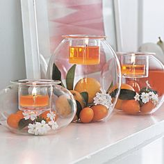 Always delicious! Clearly Creative Eclectic Votive Trio with Juicy Clementine tealights and votives.