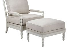Spindle Chair & Ottoman - Dublin Natural W/White Leg:Sculptural like edge and back detailing, coupled with supreme comfort make our exclusive Spindle Chair and Ottoman an excellent choice for versatile placement. Crafted from solid kiln dried birch with cushion wrapped foam core seat and back cushions. ($299.00 - $599.00)