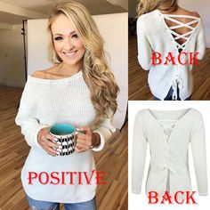 28123ed1628 US Womens Off the Shoulder Chunky Knit Jumper Ladies Oversized Baggy Sweater  Top