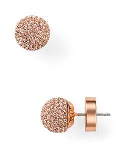 Michael Kors Pavé Ball Rose Silk Stud Earrings