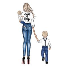 Mother Daughter Art, Mother Art, Cute Girl Drawing, Cartoon Girl Drawing, Boy Art, Art Girl, Mothers Day Drawings, Disney Princess Fashion, Boy Illustration
