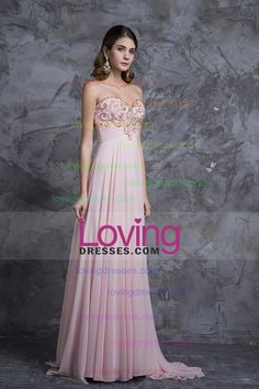 2015 New Arrival Prom Dresses A Line Sweetheart Sweep/Brush Chiffon With Beading