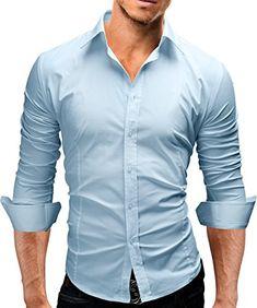 Men Shirt 2018 Spring Brand Business Men'S Slim Fit Dress Shirt Male L – cgabuy Slim Fit Dress Shirts, Slim Fit Dresses, Formal Shirts, Casual Shirts, Men Shirts, Casual Outfits, Chemise Slim Fit, Long Sleeve Tops, Long Sleeve Shirts