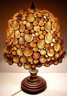 Vintage Genuine Seashell Leaded Tiffany Style Lamp Signed