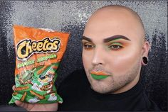who is this guy and why does he do his makeup based off of food///I mean it's good but why'd he choose cheddar jalapeño ew