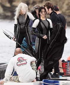 on the set of Catching Fire