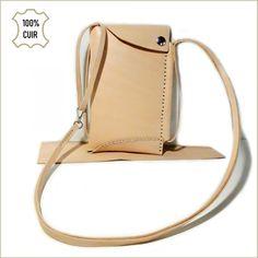 d6bbe68c22167 Pochette tour de cou en cuir beige pour Femme - Pochette en cuir pour  téléphone portable