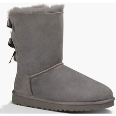 UGG Bailey Bow Womens Boots ($160) ❤ liked on Polyvore featuring shoes, boots, uggs, zapatos, grey, ugg australia, ugg® australia shoes, ugg australia boots, gray shoes and embellished boots