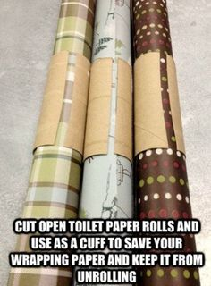 Keeps wrapping paper organized