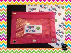 word work: use pencil pouches to hold set of sight words for each student.  Students take these home each night to practice and return with them each day to play games with them.