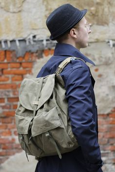 Vintage Army Backpack,Green Canvas 1970s Rucksack with Straps from Czech army, Repurpose