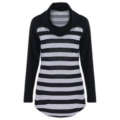Cowl Neck Striped Trim Curved T-Shirt