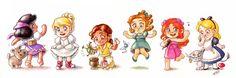 Disney Babies: Esmerelda, Cinderella, Tiana, Wendy, Giselle, Alice.