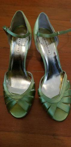 ac95243eb0c9 Coach Sandal Pump Satin Lime Green Size 7  fashion  clothing  shoes   accessories